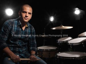 Antoine - West end drummer brought his kit in for his photo - depth of field - using aperture