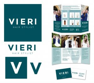 Logo & branding, leaflet and business card design for Vieri hair stylist