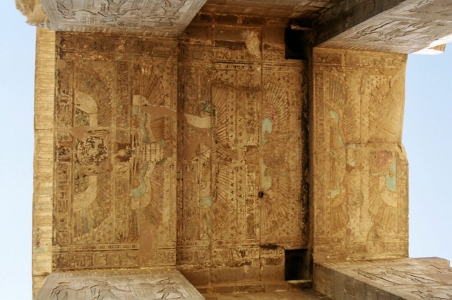 Painted lintels, Hypostyle Hall, Karnak, Luxor, Egypt