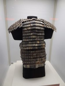 A stone suit of armour at the terracotta warriors exhibition