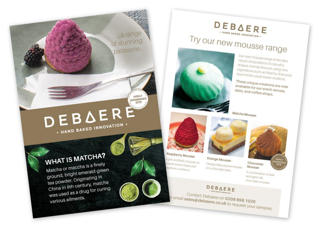Debeare patisserie and mousses leaflet