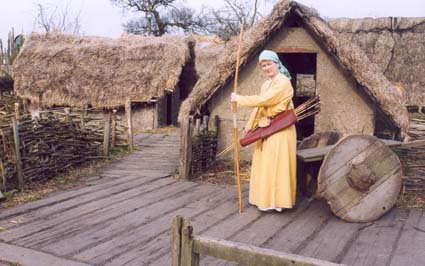 In kit with archery bow, quiver and arrows at Danelaw Viking Village